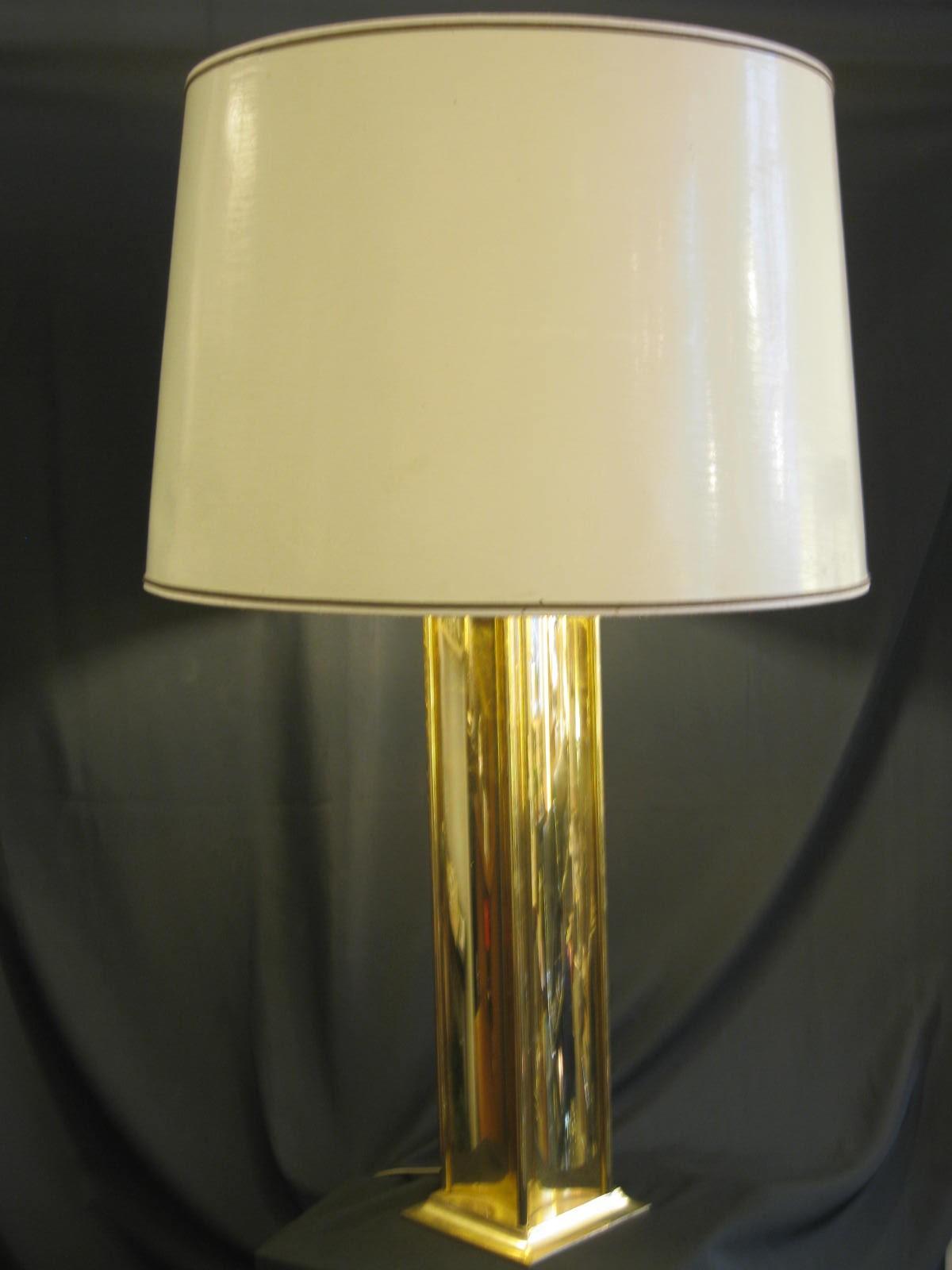 lampe pied doré base carré