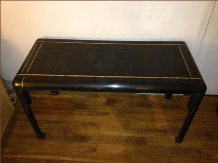 console bureau en bois laqu noir a filet de feuilles d 39 orgalerie yvan royer. Black Bedroom Furniture Sets. Home Design Ideas