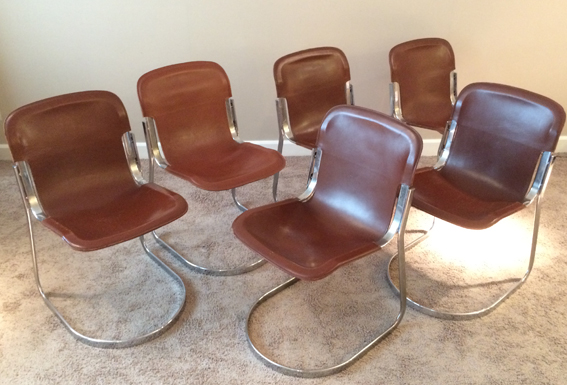 6 chaises cuir et metal chrome circa 1970 1a galerie yvan royer. Black Bedroom Furniture Sets. Home Design Ideas