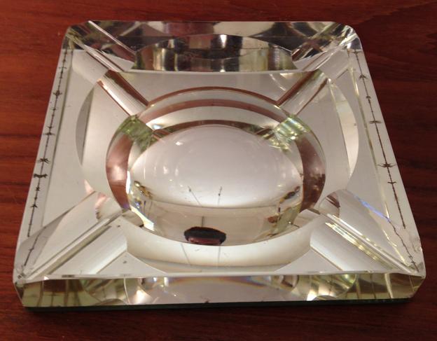 Cendrier dalle de verre mercurisé 2a