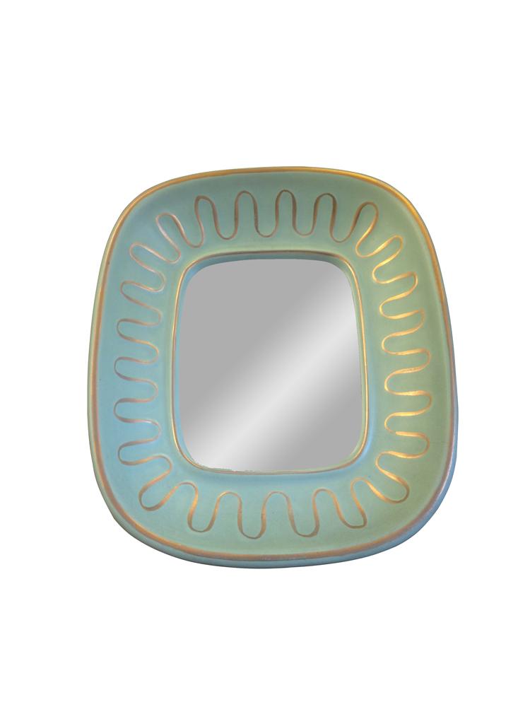 miroir ceramique vert  tilleul et or circa 1950 a