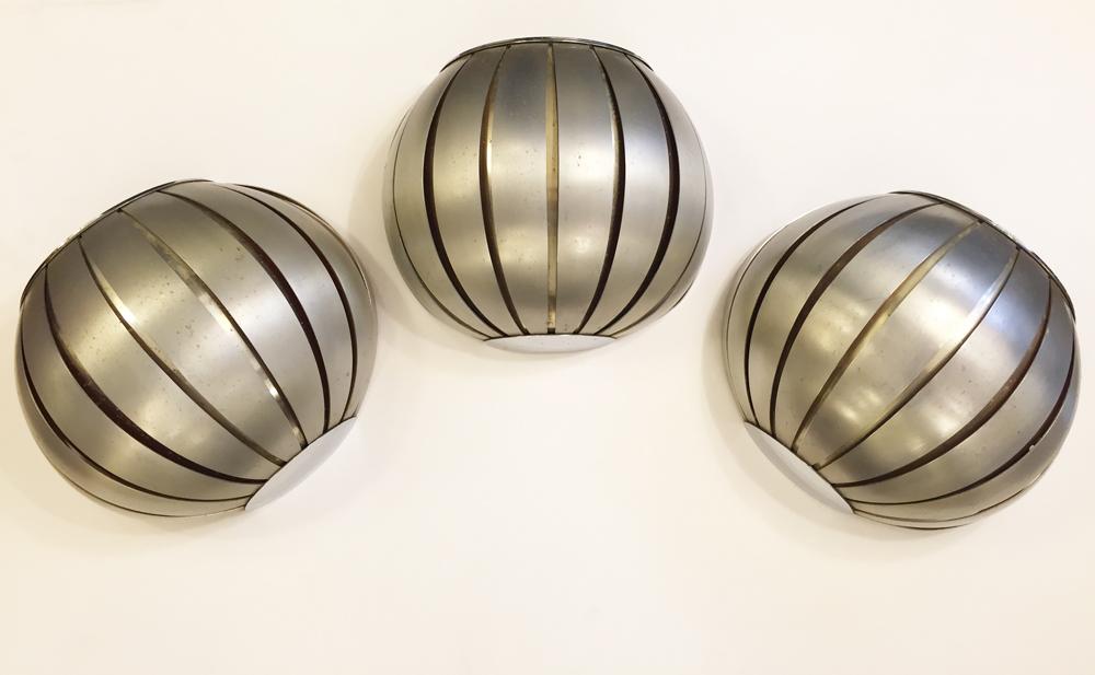 3 appliques acier anodisé