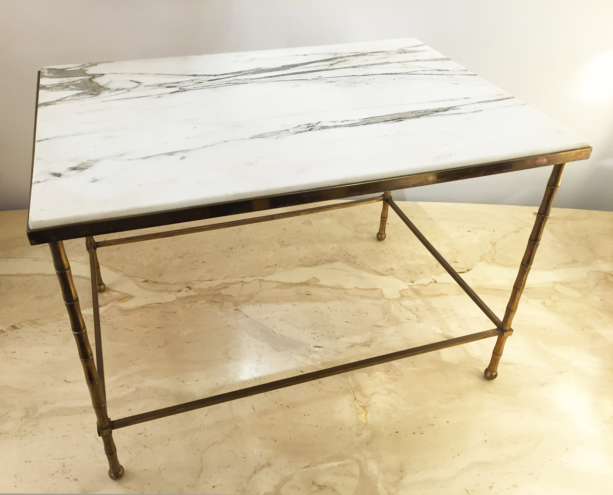 Table basse bronze marbre blanc n°1a