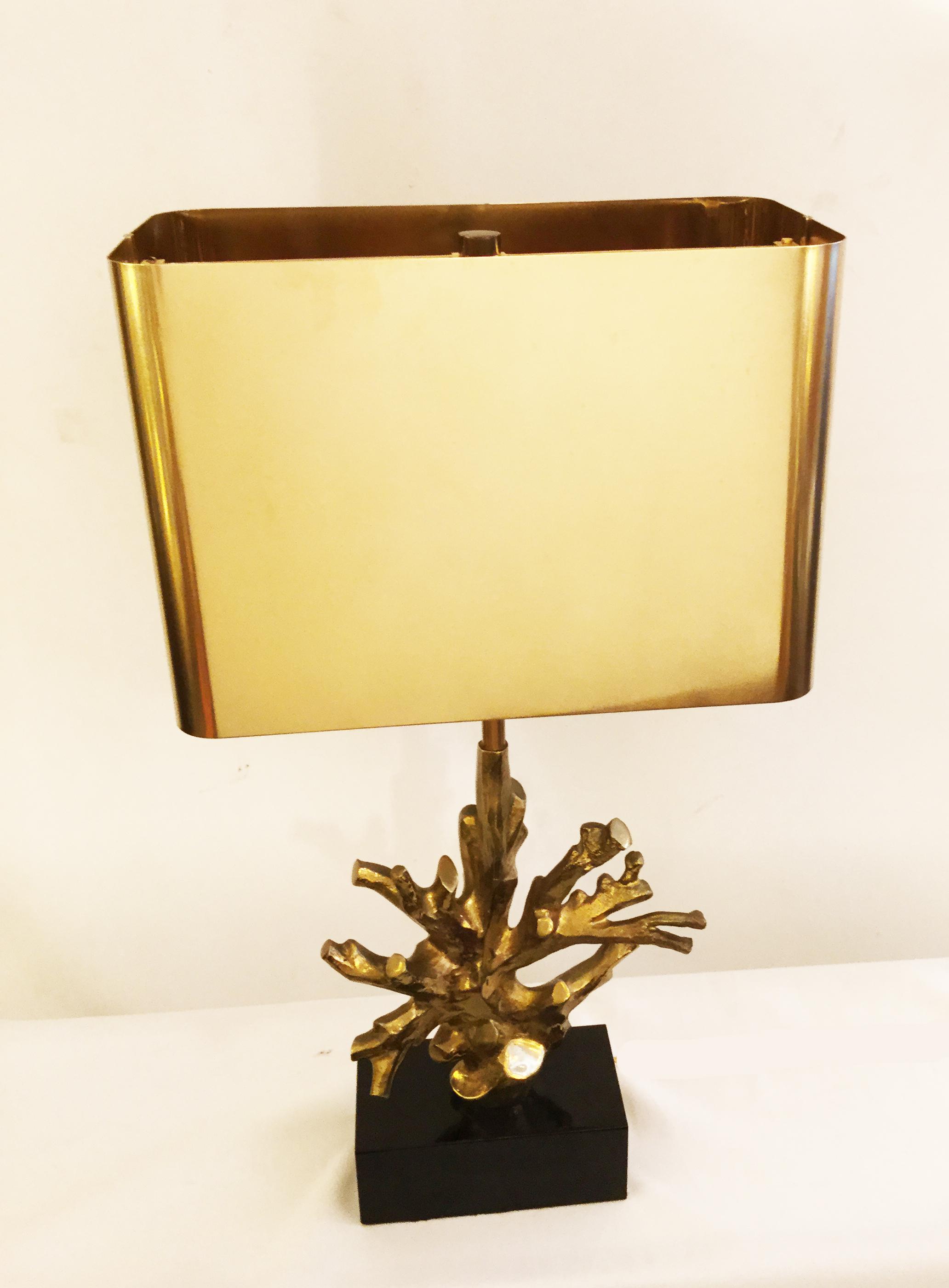 lampe corail socle marbre non detouree b