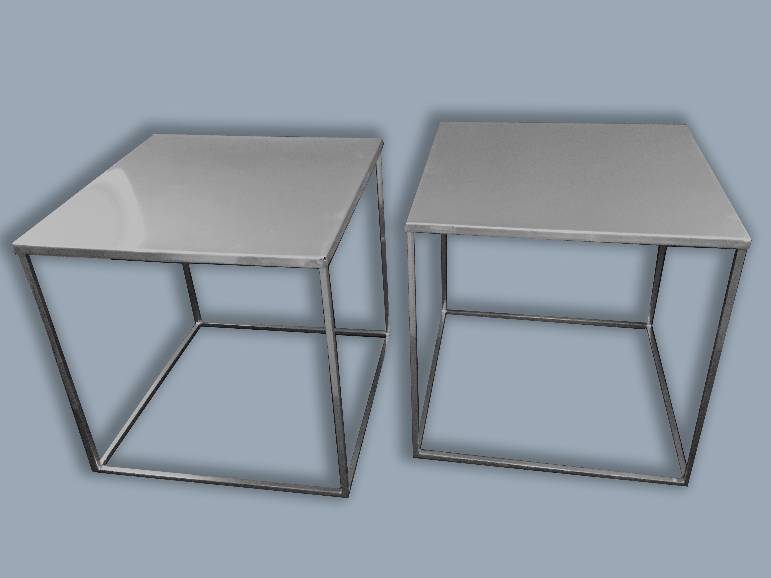paire de chevets metal chromé 1