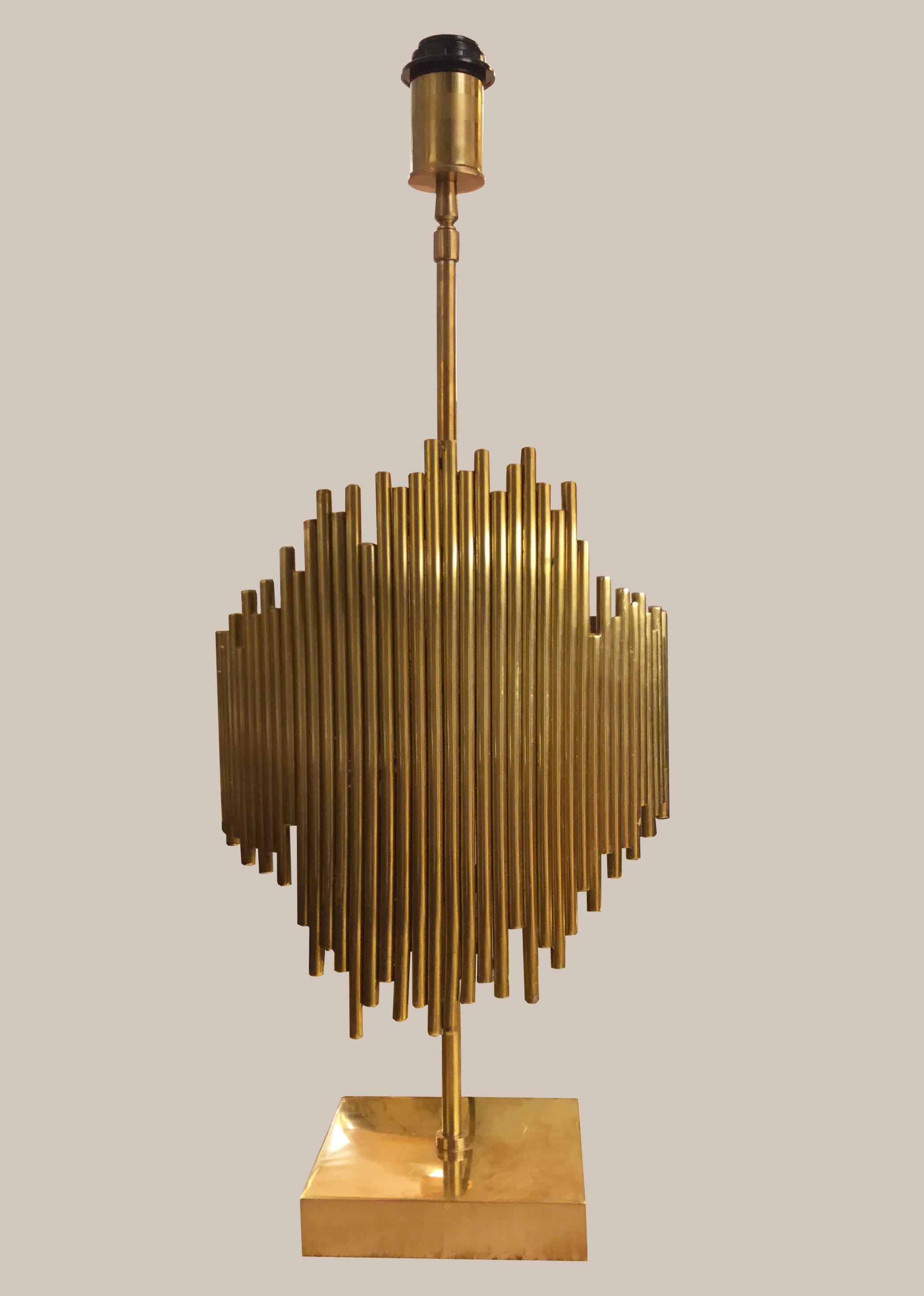 Lampe flute de pan laiton doré