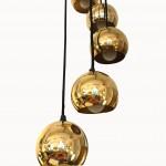 Lustre 7 sphères en laiton doré 2