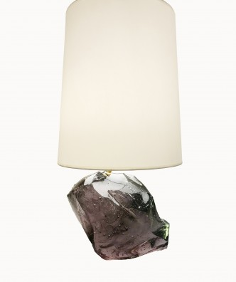 Grande lampe bloc de verre améthyste