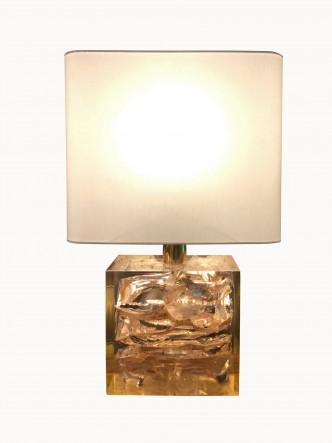 Lampe résine rose 1