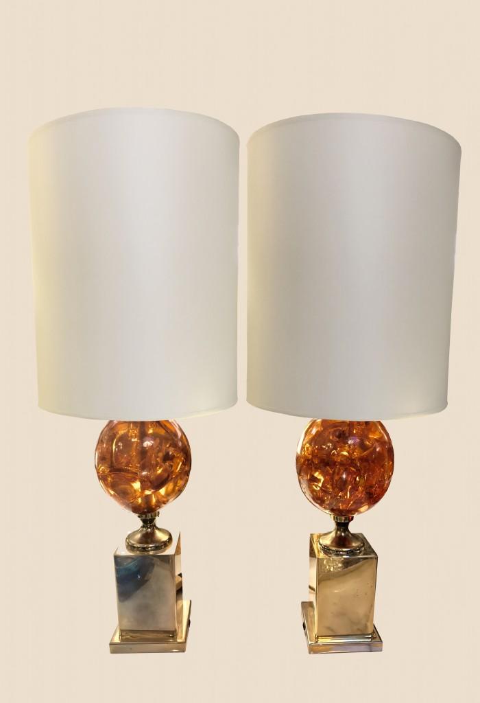 Paire de lampes en résine fractale ambrée
