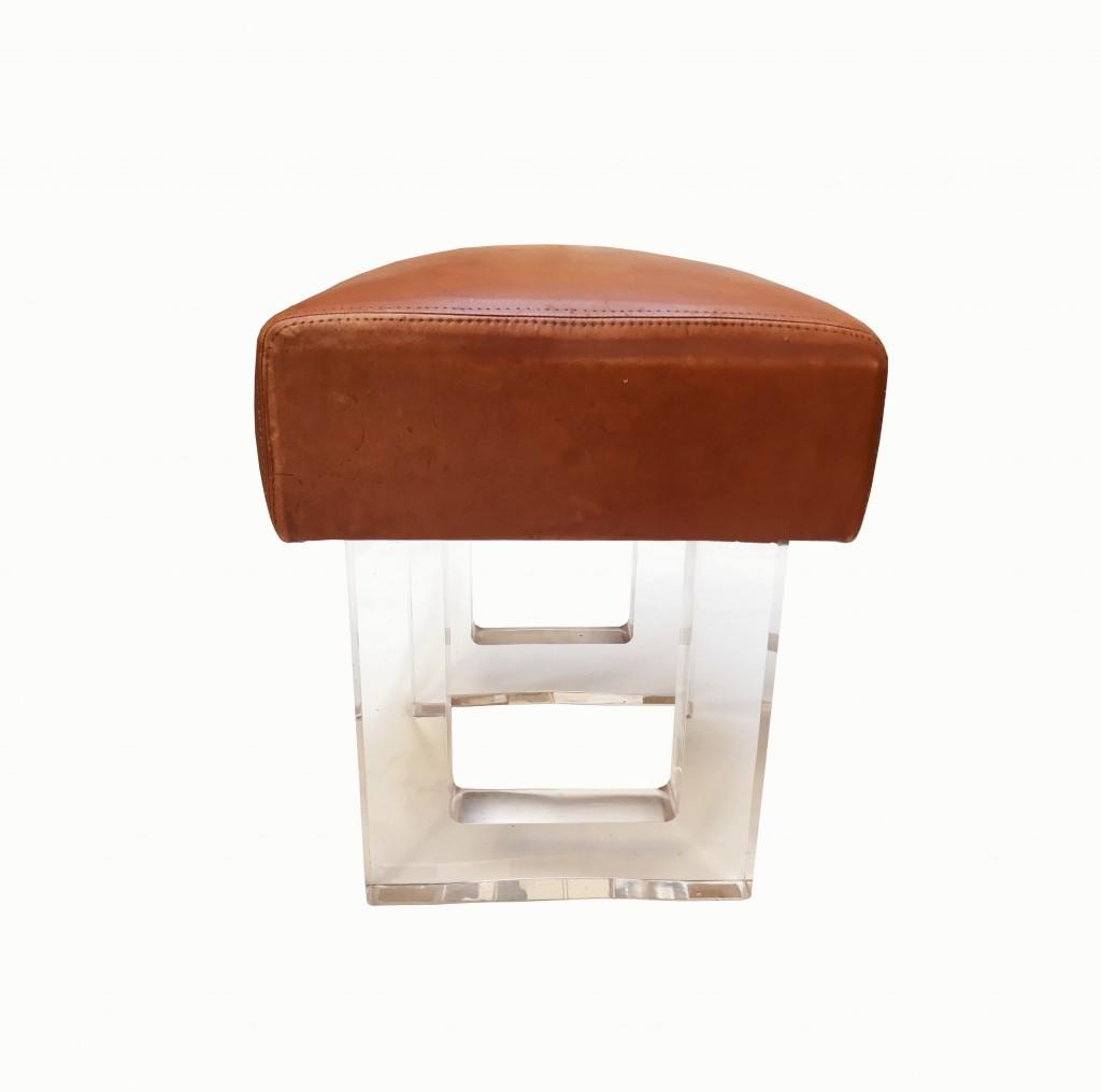 Tabouret cuir et plexiglas 2