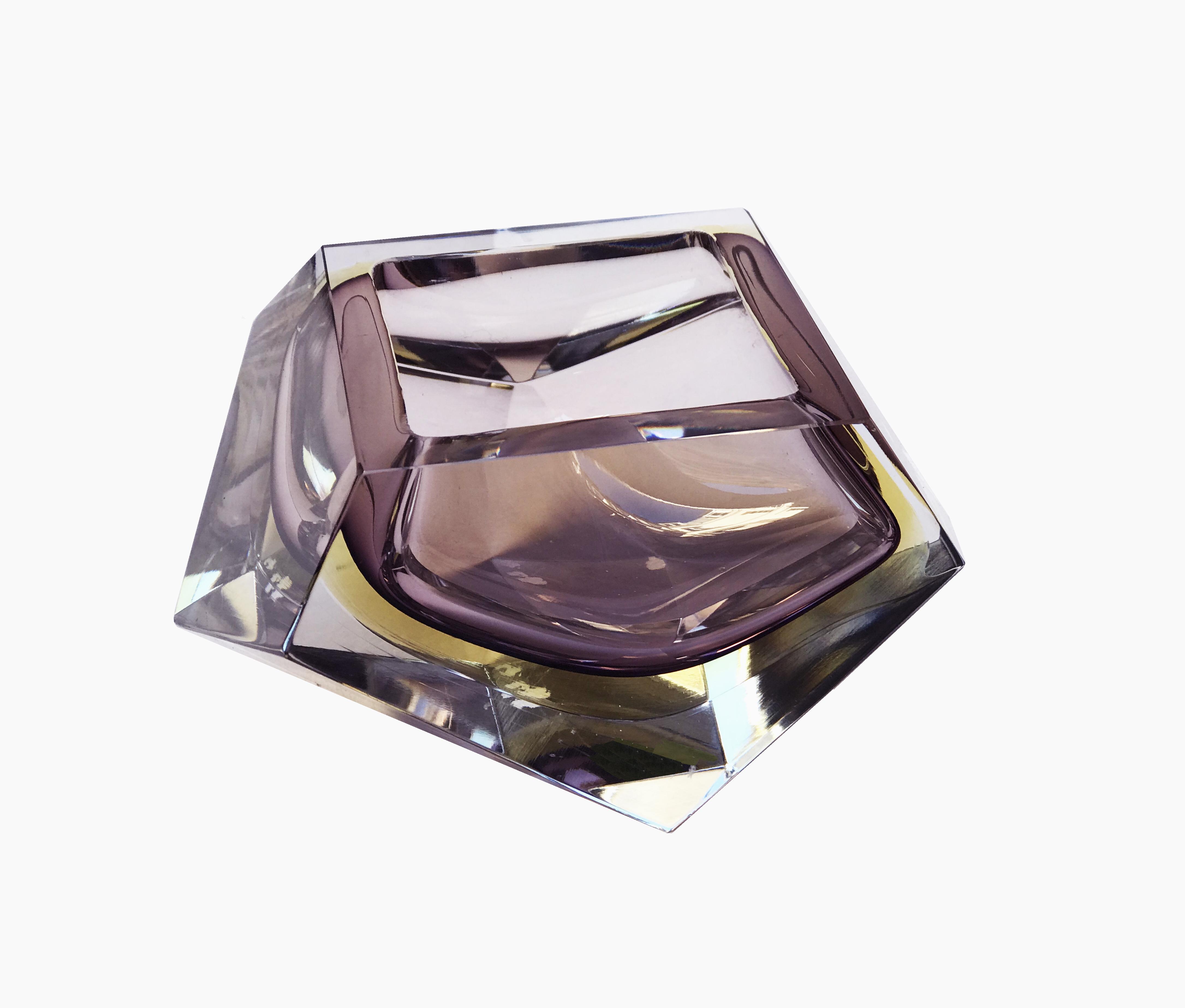 cendrier verre rose vue 1