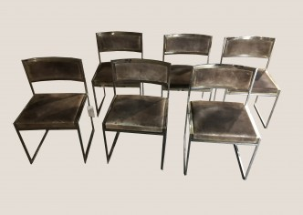 Paire de 6 chaises Willy Rizzo marrons