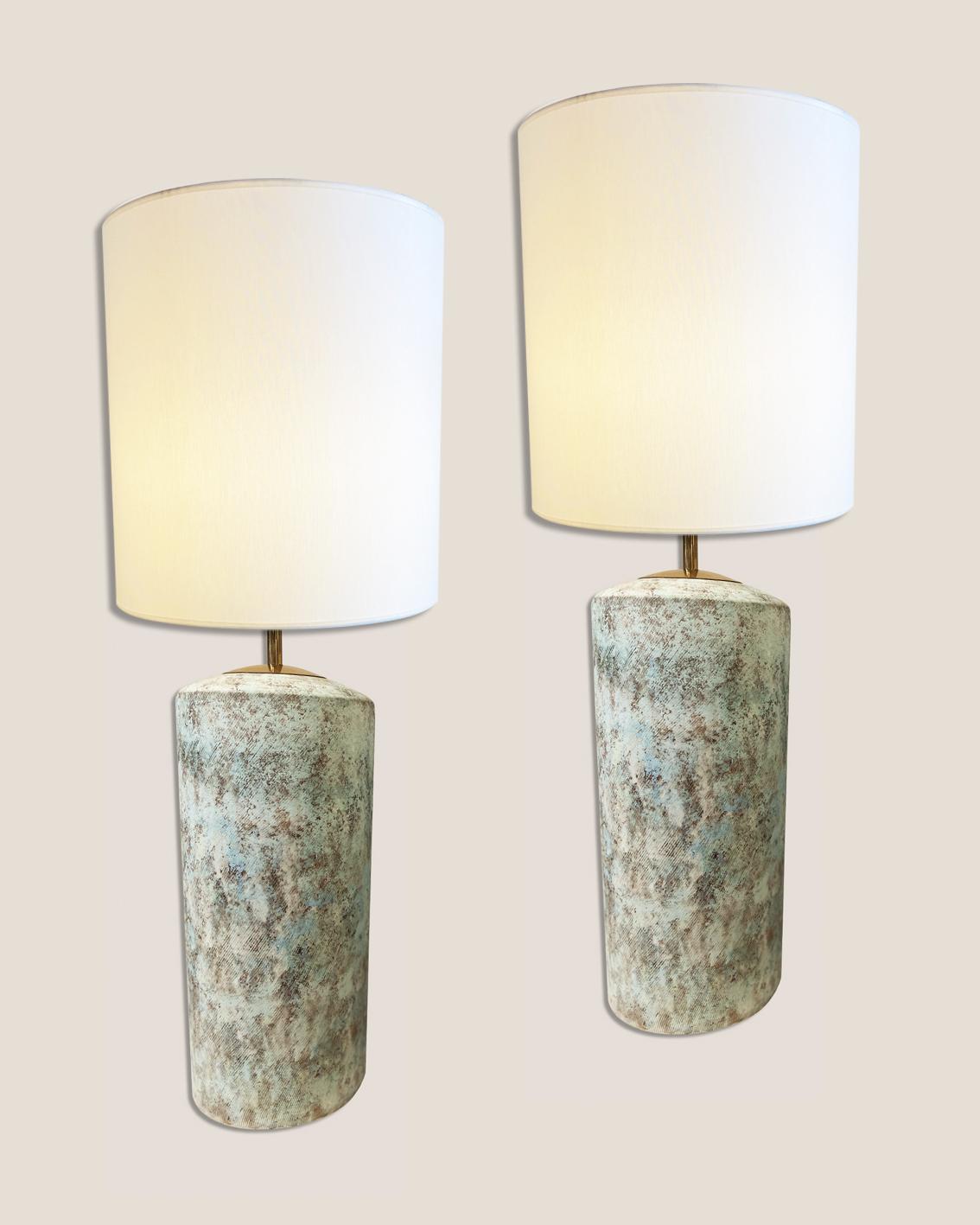 Paire de lampes turquoise