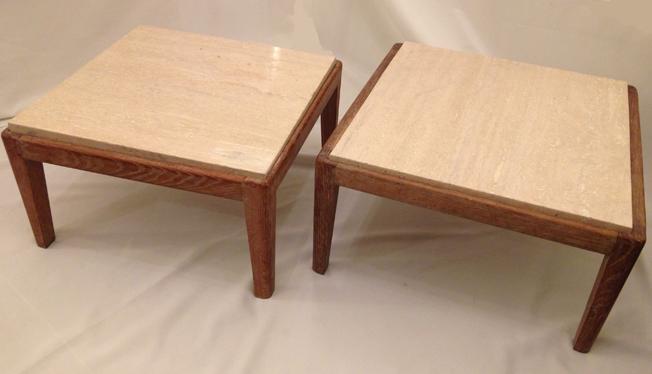 Paire de tables basses cerusé avec plateau en travertin. 50x50 cm Hauter 26 cm