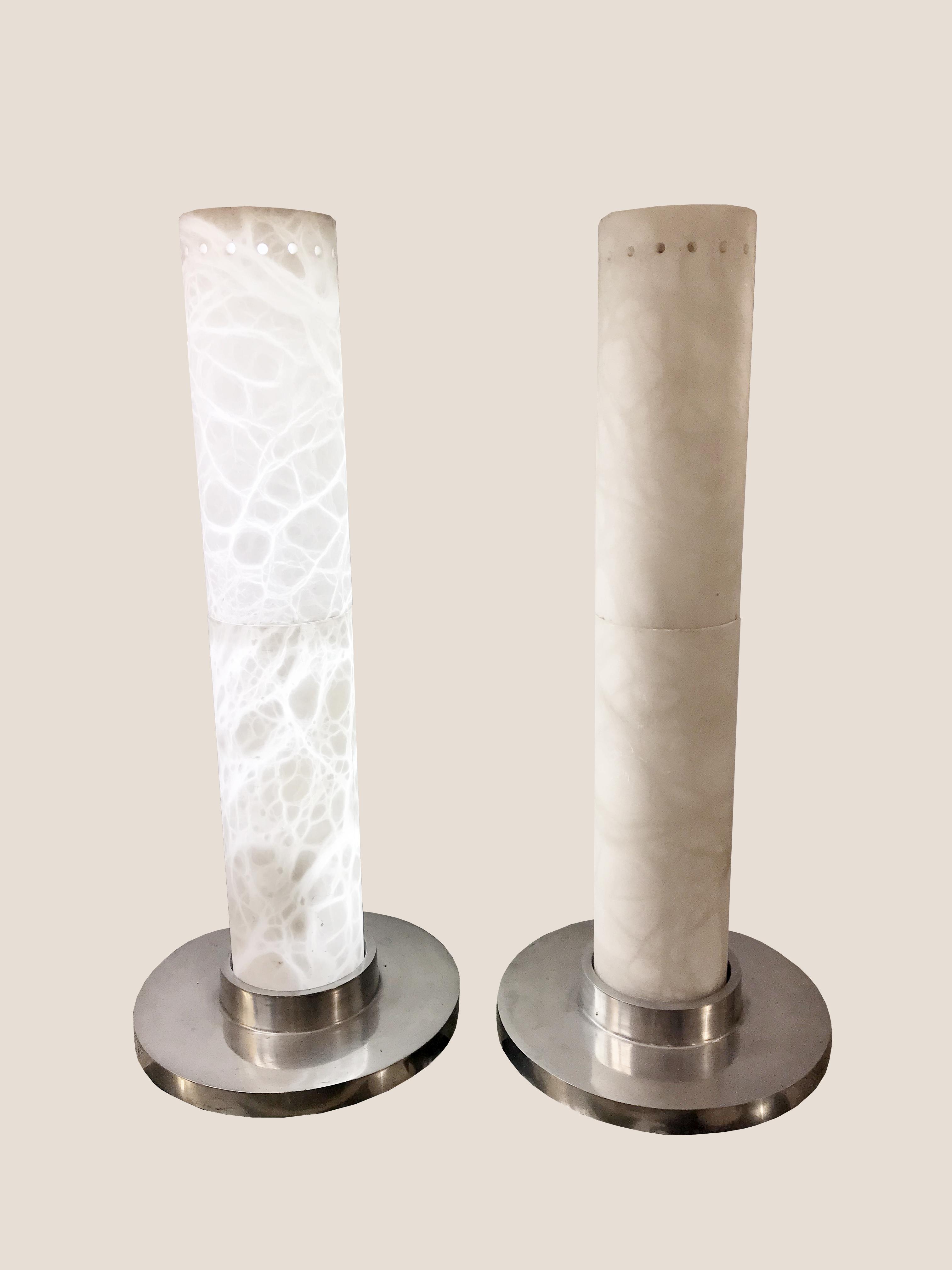 Paire de lampes en albâtre