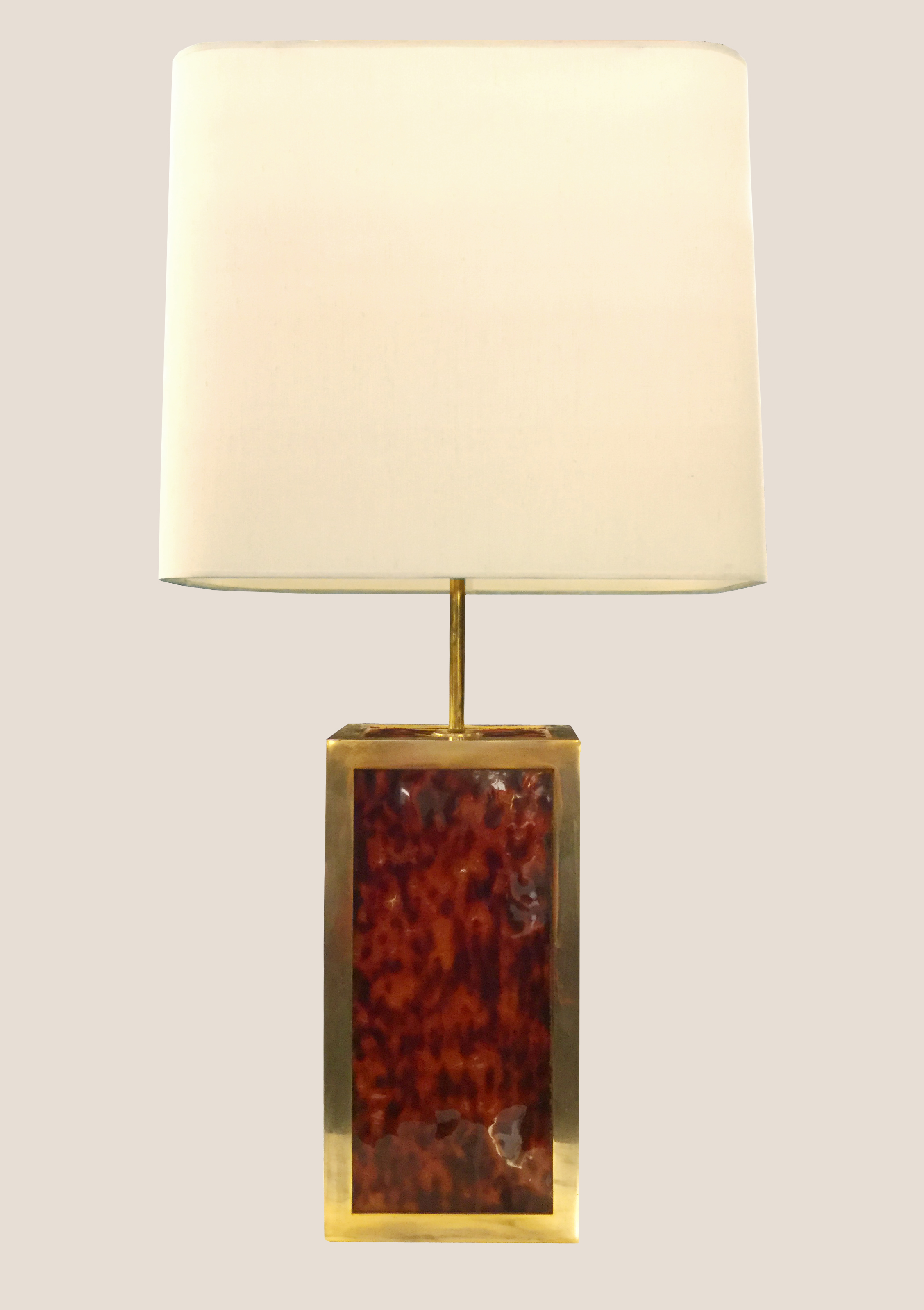 Lampe en laiton doré et décor ?