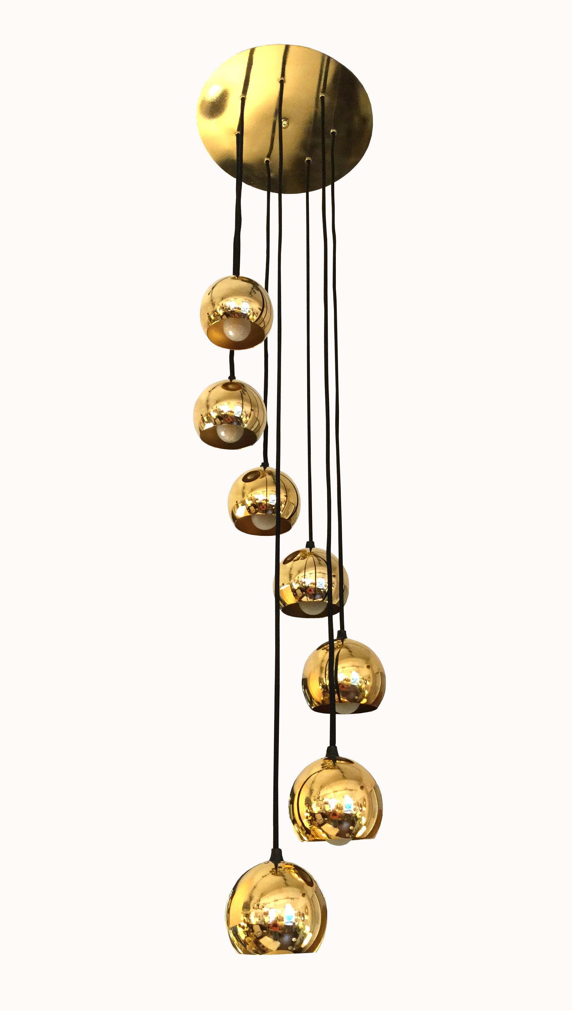 Lustre 7 sphères laiton doré 1