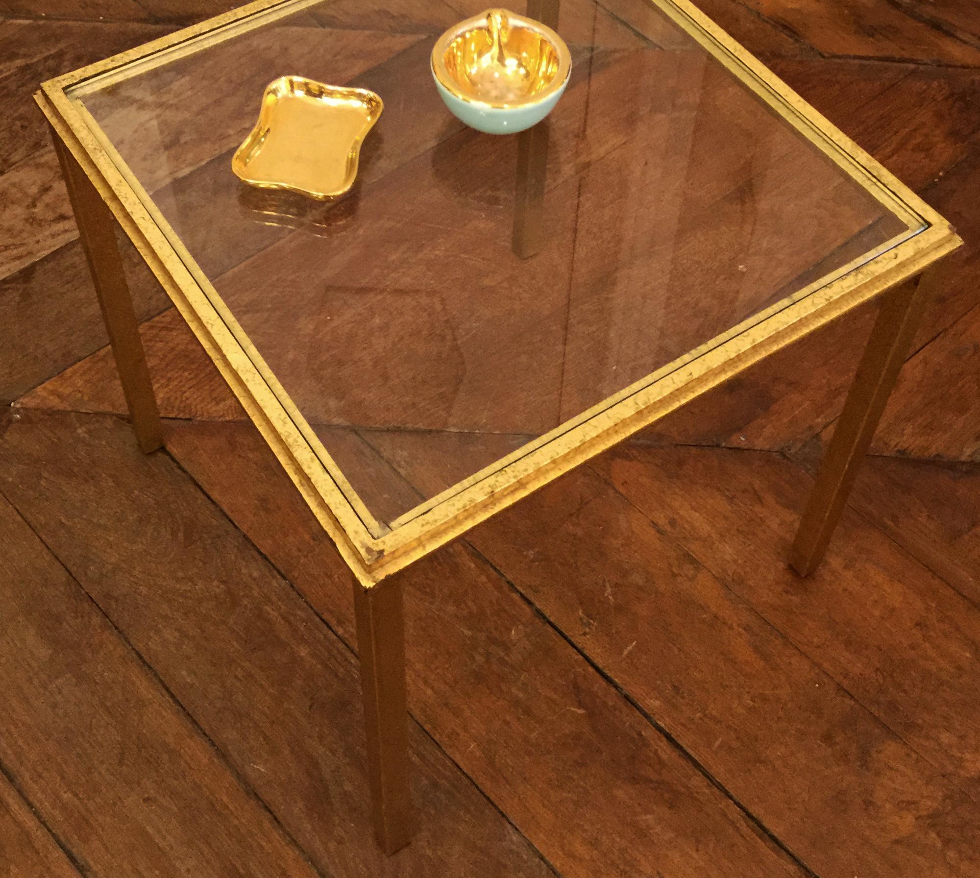 Table Basse En Verre Et Laiton Doré 4 Galerie Yvan Royer