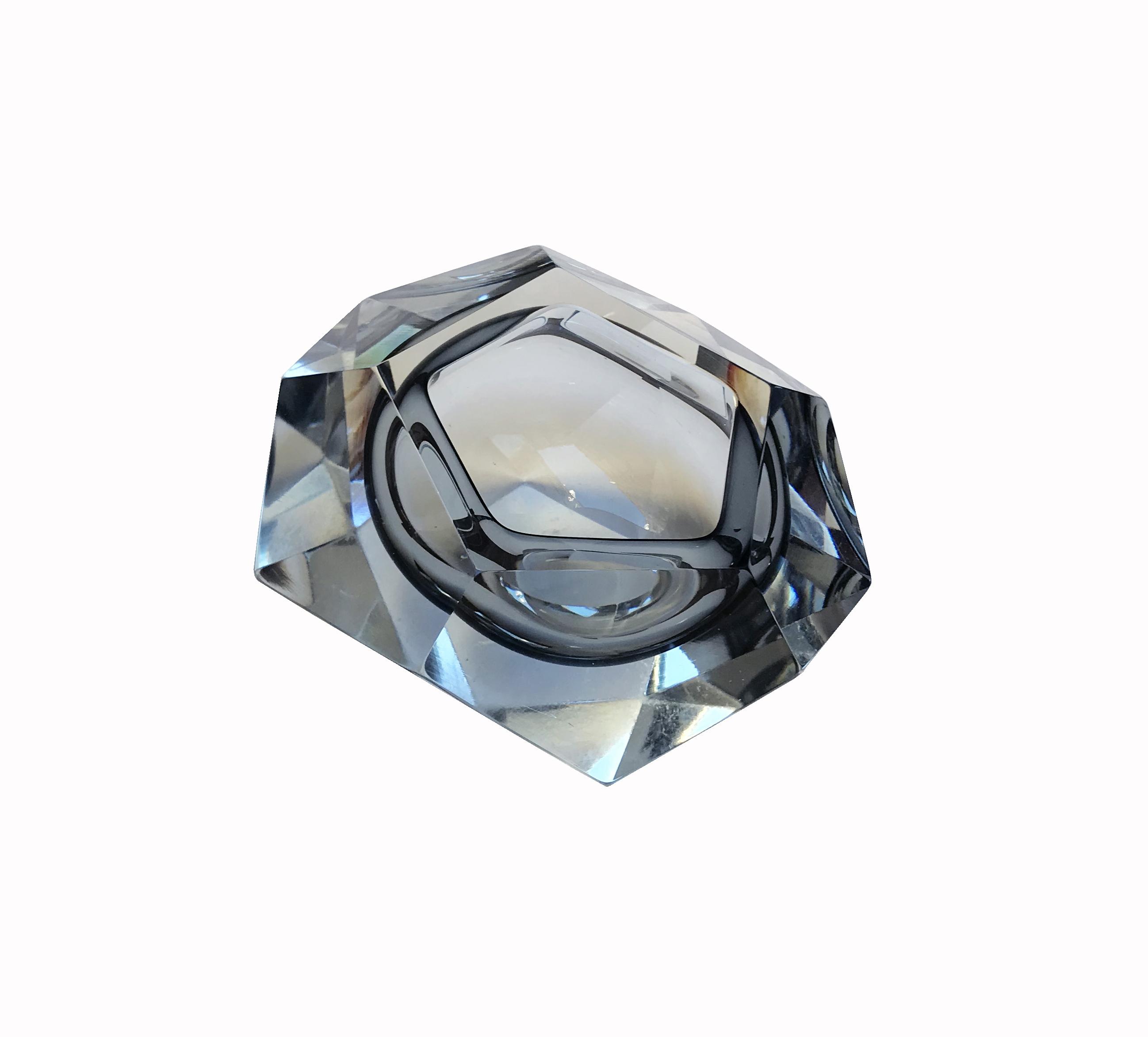 cendrier bleu verre vue 1