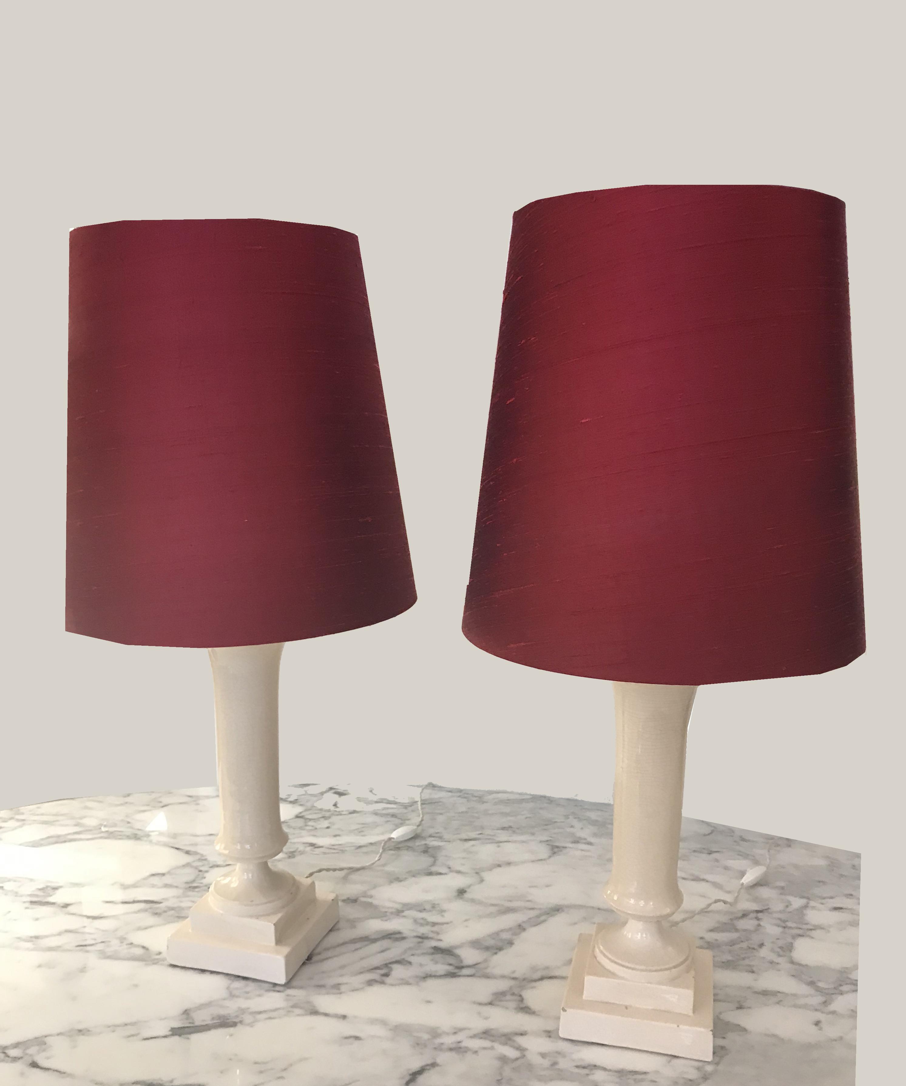 Paire de lampes soie rouge